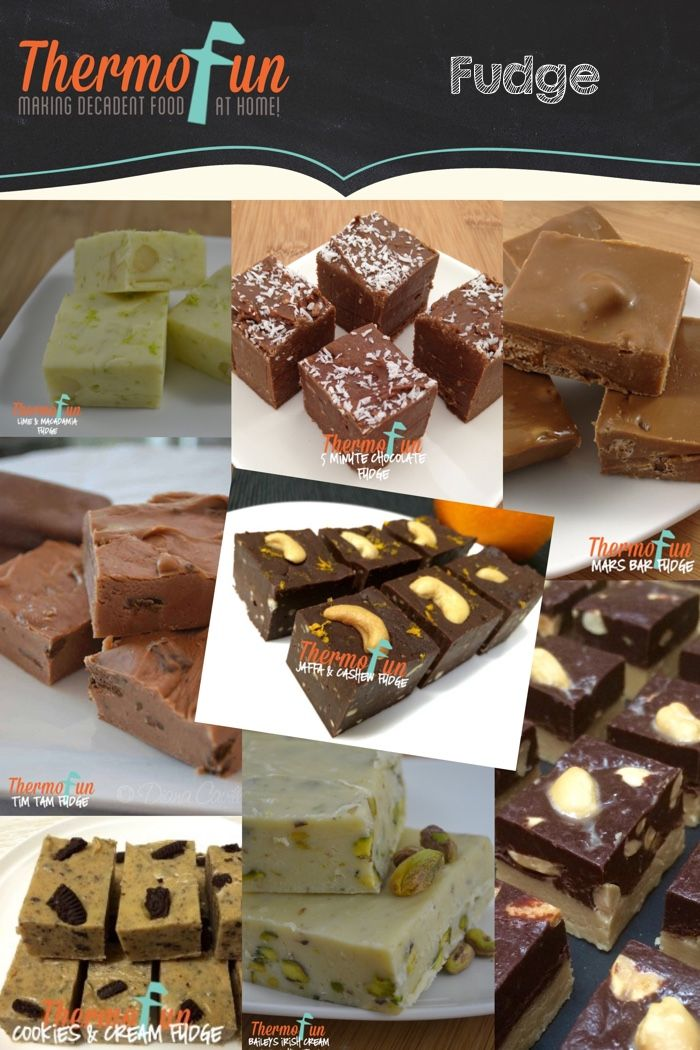 Fudge Recipes on ThermoFun: 5 min chocolate Fudge, Baileys Irish Cream & Pistachio Fudge, Jaffa and Cashew Fudge, Lime & Macadamia Fudge, Mars Bar Fudge, Oreo Cookies & Cream Fudge, Peanut Butter and Chocolate Fudge, and Tim Tam Fudge.