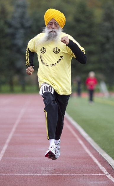 100-year-old Fauja Singh became the oldest person to complete a full-distance marathon when he finished a race in Toronto.  Inspirational.
