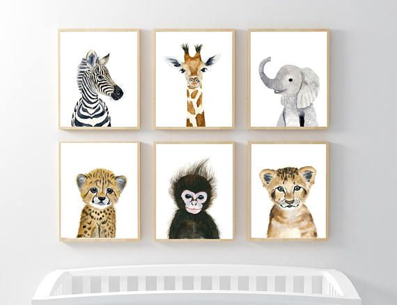 Baby Animal prints, Nursery Print Set 6, Safari Nursery Art Prints Baby Animal Print Baby Elephant Safari Nursery decor Babt animal art