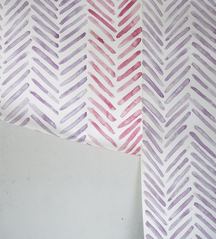 Herringbone Wallpaper That Creates A Purple Striped Printed In The UK By OccipintiOccipinti