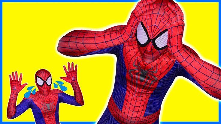 Frozen Elsa turned SpiderMan in SpiderBaby Man w/ Superheroes in Real Life
