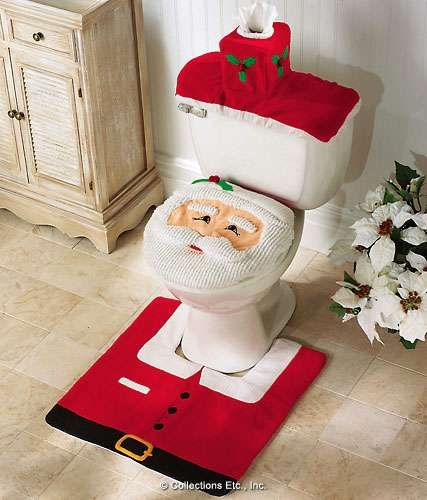 Christmas Happy Santa Fabric Toilet Seat Cover and Rug Bathroom Commode Set     So when you sit down you ll be going   ew   poor Santa. 168 best images about Make My Toilet Pretty  on Pinterest