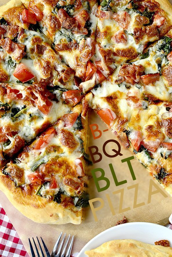 Sweet BBQ sauce meets salty bacon, juicy tomatoes, and hearty kale in this mouthwatering homemade BBQ BLT Pizza. | iowagirleats.com