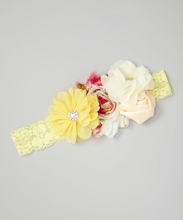 Look at this Charlotte Rose Couture Yellow & Ivory Flower Headband on #zulily today!