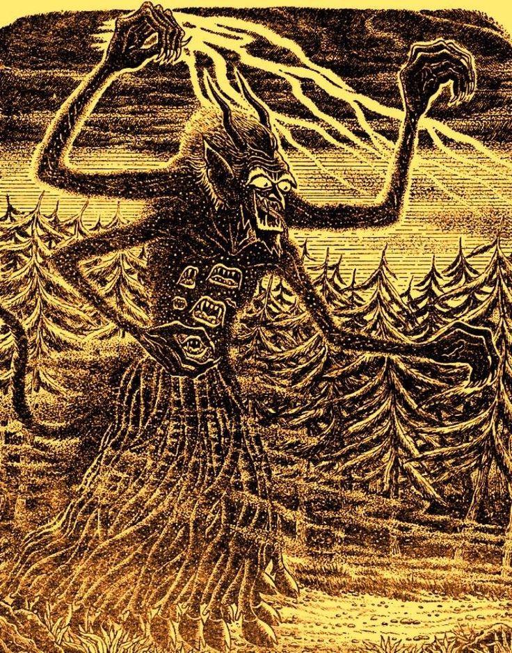 Ilustración de Matt Fox para el relato de Robert Bloch Notebook Found in a Deserted House, publicado originalmente en 1951. Podría representar a un Retoño Oscuro o, a juzgar por las múltiples extremidades caprinas, a la mismísima Shub-Niggurath.