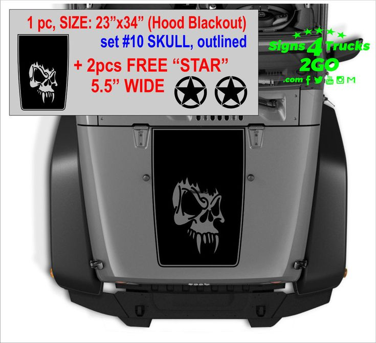 Hood Blackout Set10 Outlined 2 FREE Star Decals Vinyl Graphic JEEP WRANGLER