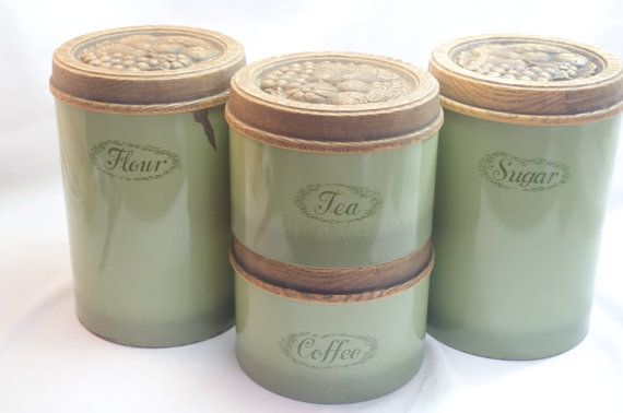 Vintage Avacado Green Kitchen Canisters Set By