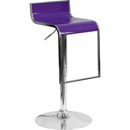 iHome Estella Purple Plastic Adj. Bar/Counter Height Stool w/Chrome Drop Frame for Home/Dining/Kitchen