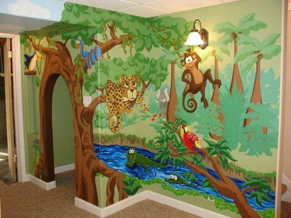 Vintage Kindertapete Kinderzimmer gestalten tiere Dschungel