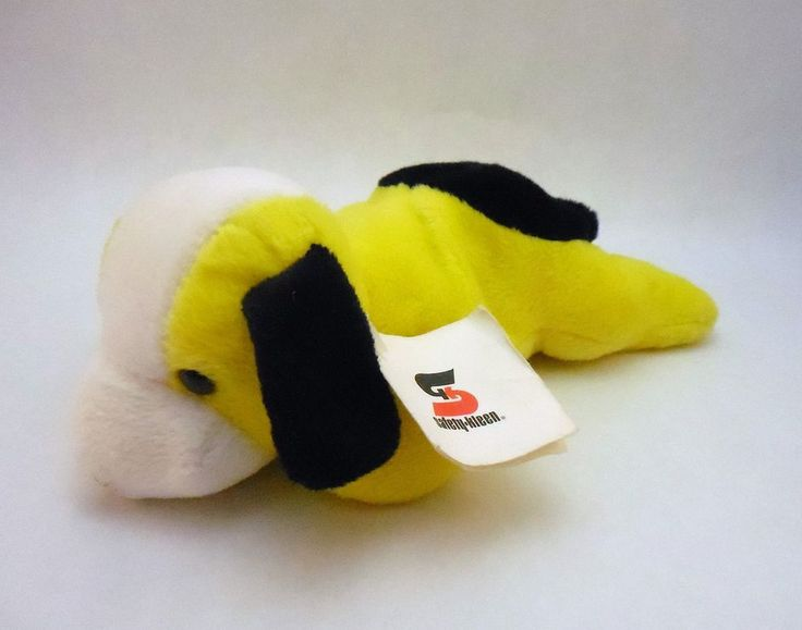 Yellow Bean Bag plush Dog puppy, Safety-Kleen Advertising, 1998 Art's Toy Mfg #SafetyKleenArtstoymfg