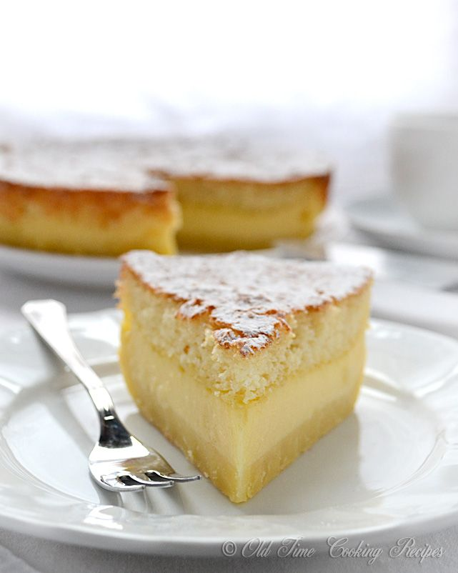 Magic Cake - The magic is in the fact that you make only one batter and, after baking, you get a cake with 3 distinct layers: dense one on the bottom, custard-like layer in the middle, and a sponge layer on top.This is the coolest thing!