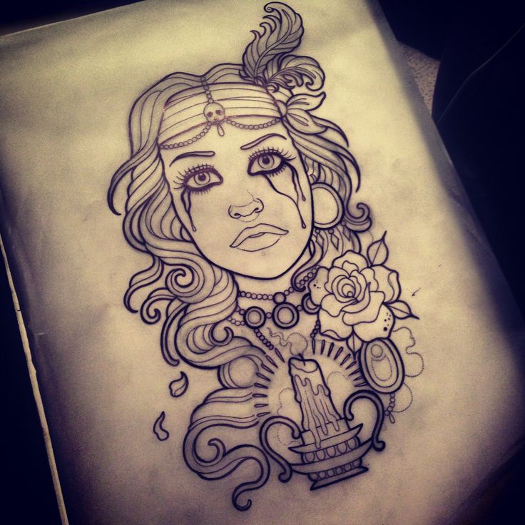 Artwork design client girl gypsy feathers flowers jewels ...