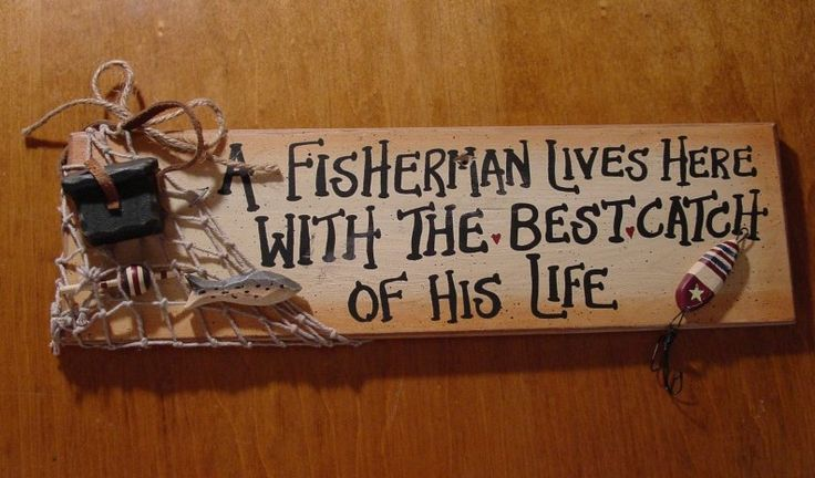 fishing cabin decor | ... HERE WITH BEST CATCH Fishing Net Sign Rustic Lodge Cabin Decor | eBay
