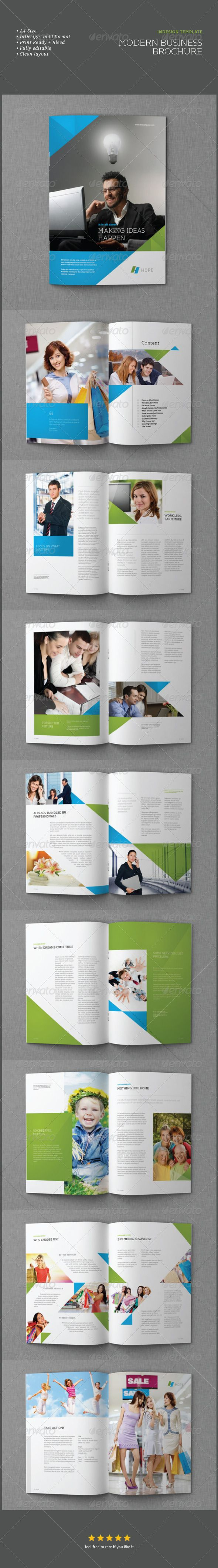 InDesign Modern Business Brochure Template  #GraphicRiver         LIVE PREVIEW   Clean, elegant, and professional corporate business brochure.