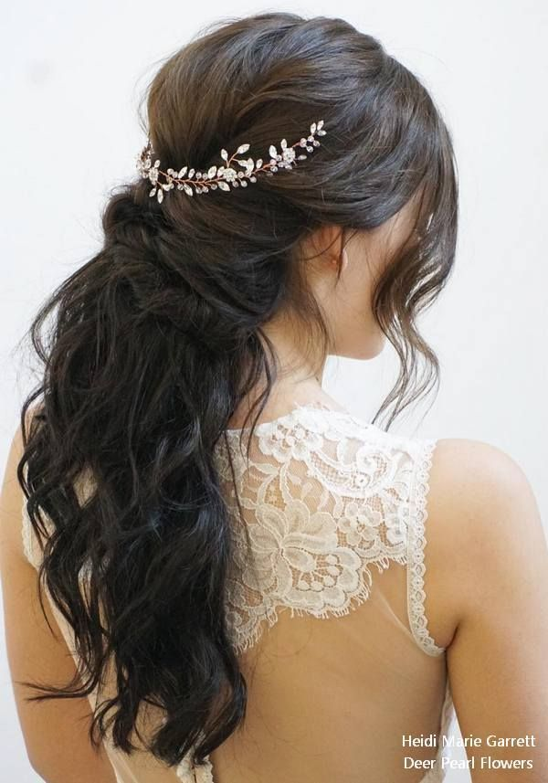 Bridal Hairstyles : Half up half down wedding ceremony hairstyles from Heidi Marie Garrett #weddings #hairsty…