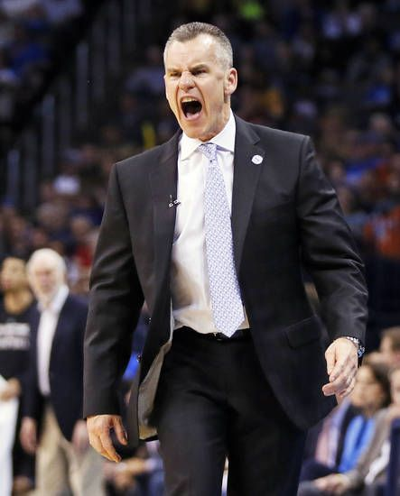 Thunder coach Billy Donovan yells at an official that a foul should have been called during an NBA basketball game between the Oklahoma City Thunder and San Antonio Spurs at Chesapeake Energy Arena in Oklahoma City, Friday, March 31, 2017. San Antonio won 100-95. Photo by Nate Billings, The Oklahoman
