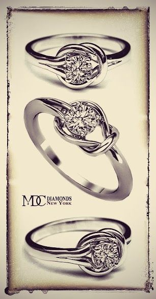 ove Knot Solitaire Diamond Engagement Ring