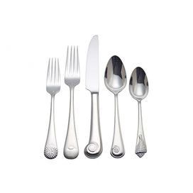 Bring seaside chic style to your dining room table with this nautical-inspired flatware set, showcasing charming sea shell handles.   Product:   Salad fork  Dinner fork  Dinner knife  Soup spoon  Teaspoon      Construction Material: Stainless steel Color: Silver Features: Each handle depicts a different shell pattern Cleaning and Care: Dishwasher safe