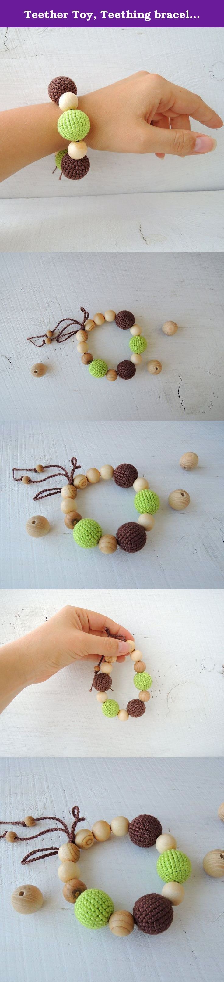 Teether Toy, Teething bracelet, Crocheted Wooden Beads, Cotton Yarns. Teething bracelet is a baby teething toy, can bite beads and scratch gums. Wooden beads are very pleasant to touch; crochet beads have textured surface and nice colors. These bracelets are made to be very safe for children. All parts are natural and well fixed.