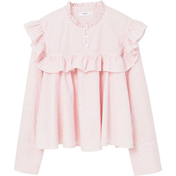 Ruffled Stripe-Patterned Blouse ($34) ❤ liked on Polyvore featuring tops, blouses, pink ruffle blouse, striped top, pink long sleeve top, long sleeve blouse and striped blouse