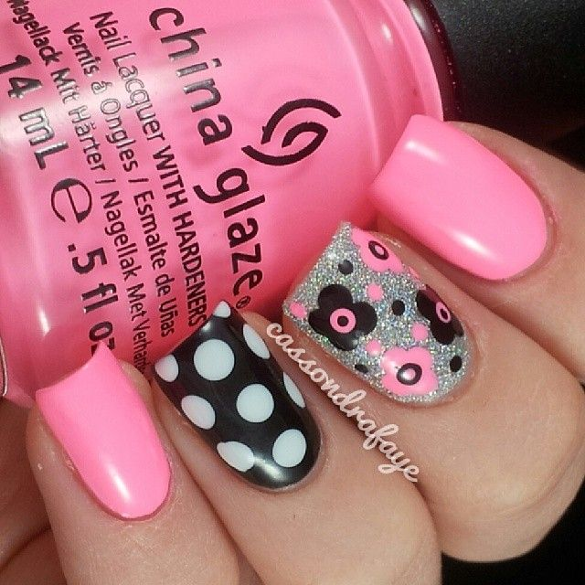 cassondrafaye from instagram (inspired by mikasnails!) chinaglaze Shocking Pink, Glistening Snow, sallyhansen Black Out and opi My Bf Scales The Walls
