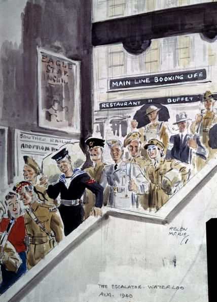 The Escalator, Waterloo Station, London, August 1940: One of a series of watercolour studies of London's Waterloo Station, during WWII, by Helen McKie (d 1957), showing servicemen and women in a variety of military uniforms descending an escalator at Waterloo Station. (Photo by SSPL/Getty Images)