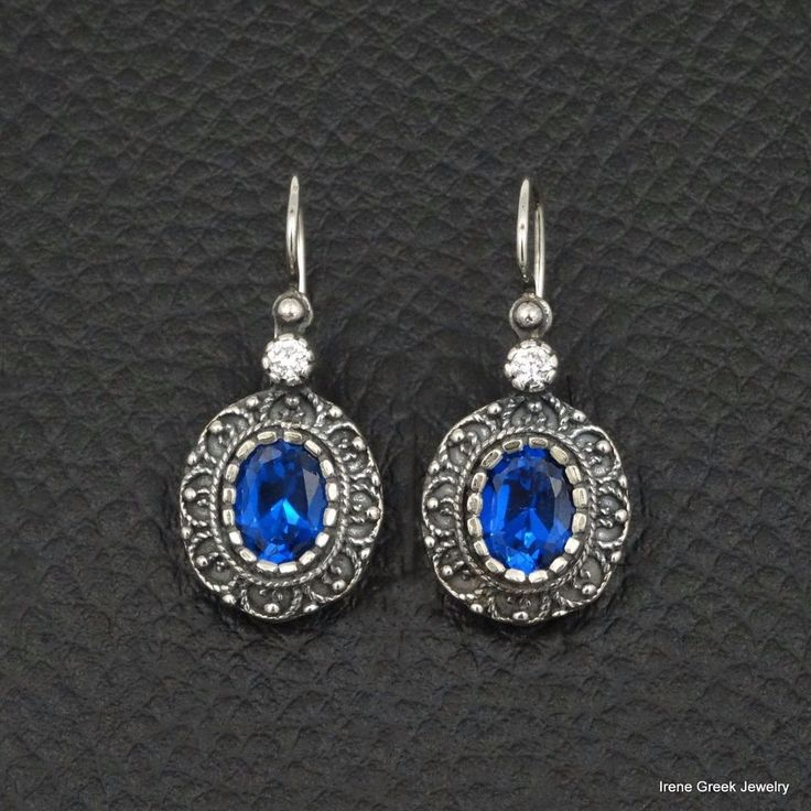 RARE BLUE SAPPHIRE CZ ETRUSCAN STYLE 925 STERLING SILVER GREEK HANDMADE EARRINGS #IreneGreekJewelry #DropDangle