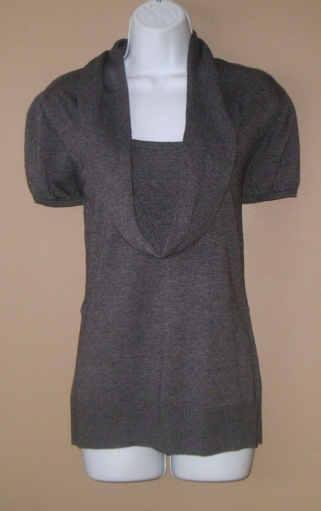Womens Large Short Sleeve Gray Cowl Neck Sweater