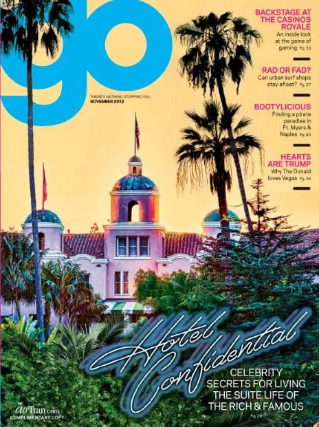 Airtran's Go magazine cover is a throwback to the Eagle's Hotel California album cover. Such a lovely place.