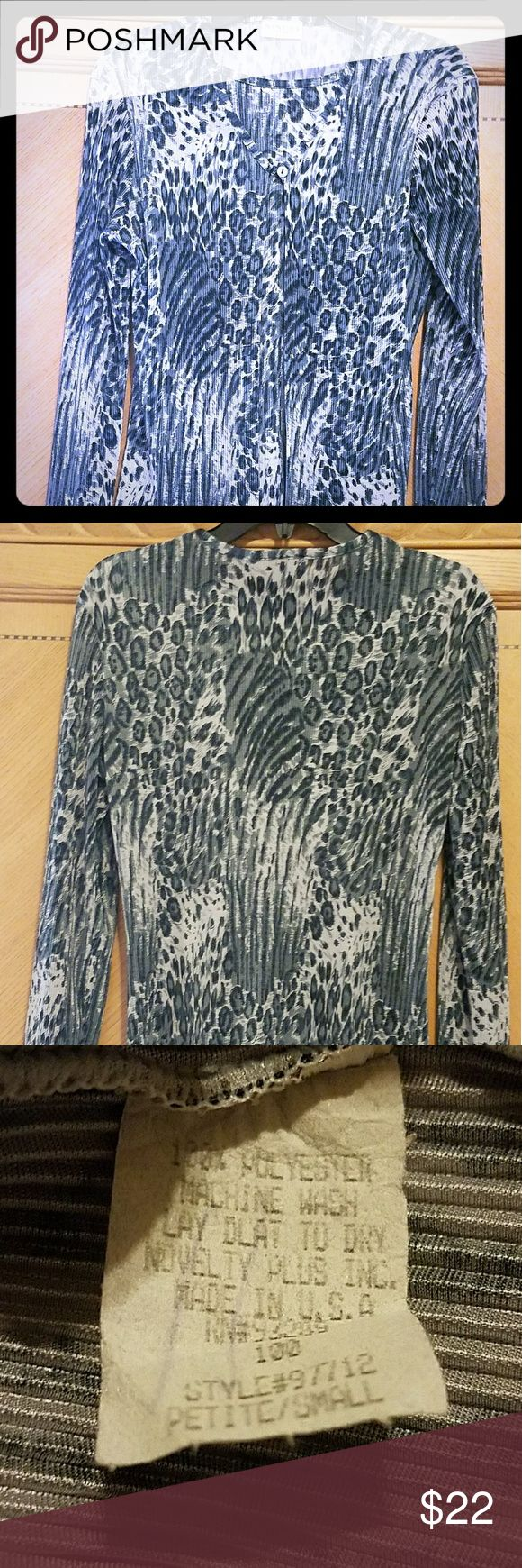 NINETY PETITES TOP Beautiful black/gray one piece with a two piece look pearl button at top of blouse NWOT NINETY PETITES Tops