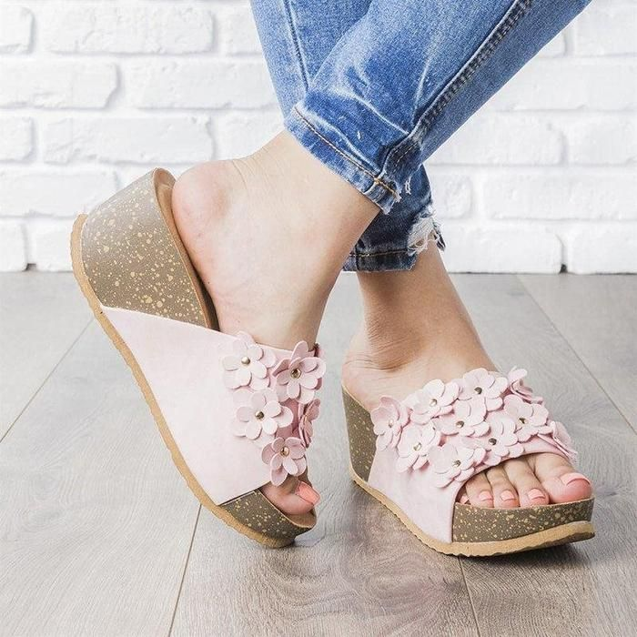 Slip-On Flip Flop Wedge Heel Summer Slippers