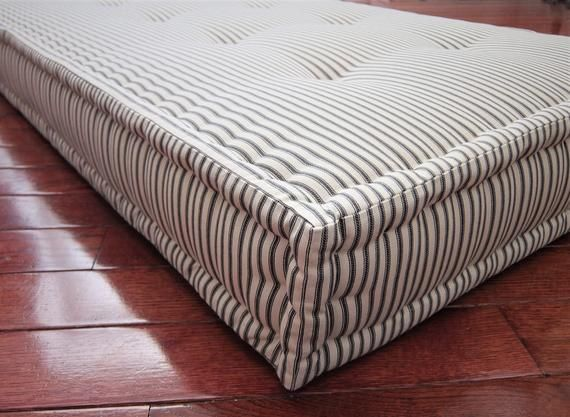 Custom Bench Cushion With Bolsters Tufted French Mattress Etsy In 2020 Custom Bench Cushion French Mattress Cushion Window Seat Cushions