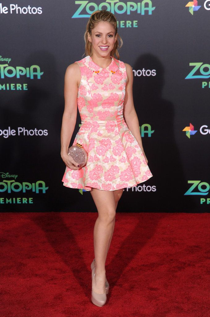 When you're in a Disney movie, you dress like a princess to attend its premiere — that was what Shakira was thinking when she chose a sweet collared pink skater dress for Disney's Zootopia red carpet.