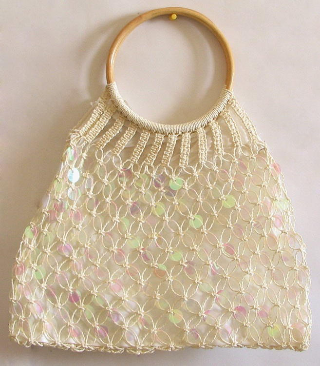 Off White Sequined Macreme Bag with Wooden Handle. Great for the beach.