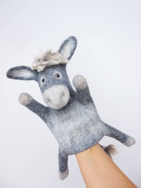 the donkey hand puppet wet felted MADE TO ORDER by bibabo on Etsy