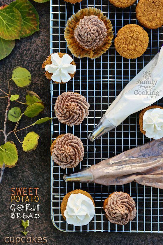 Sweet Potato Cornbread Cupcakes with Whipped Cream | FamilyFreshCooking.com