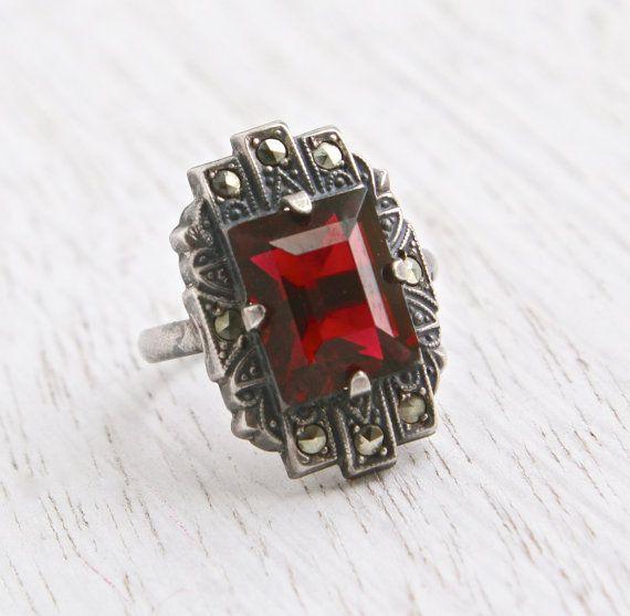 Vintage Marcasite Amp Garnet Red Stone Ring Antique Size 3 1 2 Art Deco Sterling