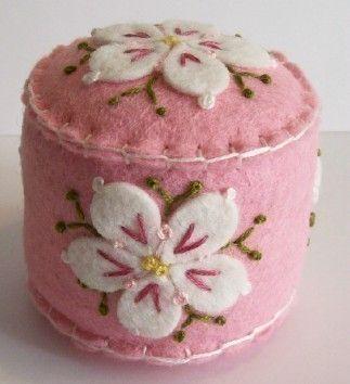 Dogwood Blossoms on Pink mini pincushion by TheDailyPincushion, $15.00