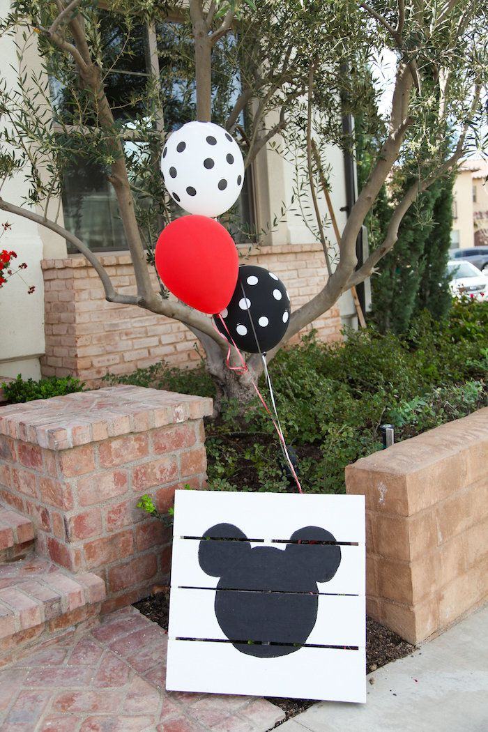 Wood Mickey Mouse Party Signage from a Classic Mickey Mouse Birthday Party on Kara's Party Ideas | KarasPartyIdeas.com (16)