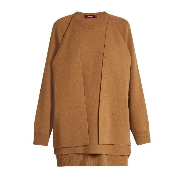 Sies Marjan Double-layer wool-blend sweater ($1,070) ❤ liked on Polyvore featuring tops, sweaters, beige, beige sweater, drape front top, double layer top, brown top and slouchy tops