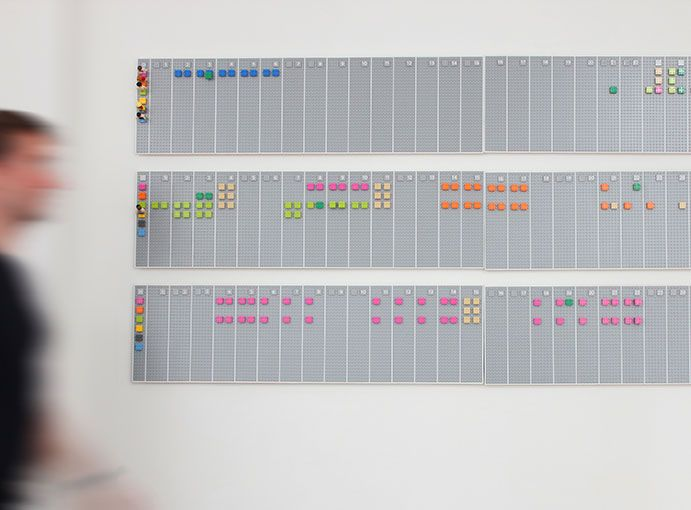Lego Calendar. The Lego calendar is a wall mounted time planner that we invented for our studio. #Physical