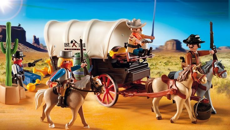 Amazon.com: PLAYMOBIL Covered Wagon with Raiders: Toys & Games