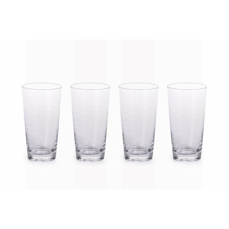 Zodax 6.25-Inch Tall Keely Fish Cut Highball Glass, Set of 4, Clear