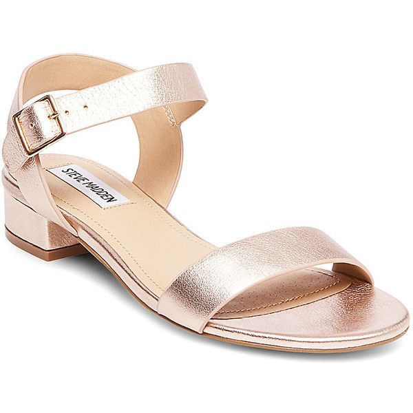 Steve Madden Cache Sandals ($70) ❤ liked on Polyvore featuring shoes, sandals, rose gold, strappy sandals, steve madden sandals, low heel shoes, strap sandals and small heel shoes