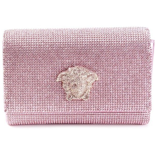 Versace Medusa clutch ❤ liked on Polyvore featuring bags, handbags, clutches, purple purse, versace handbags, versace purses, purple handbags and versace