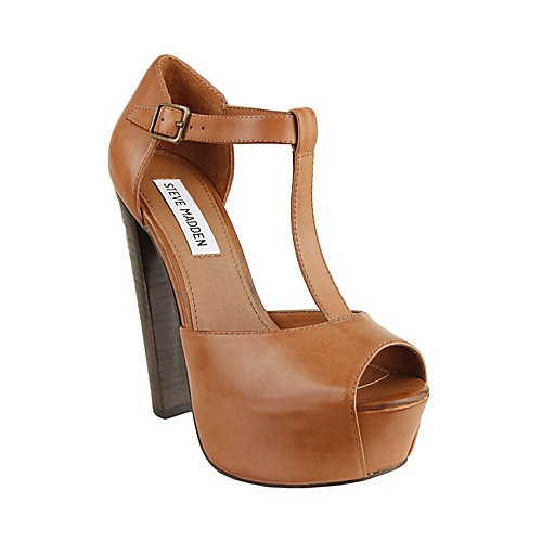 DAQUIRII COGNAC LEATHER women's dress high platform - Steve Madden