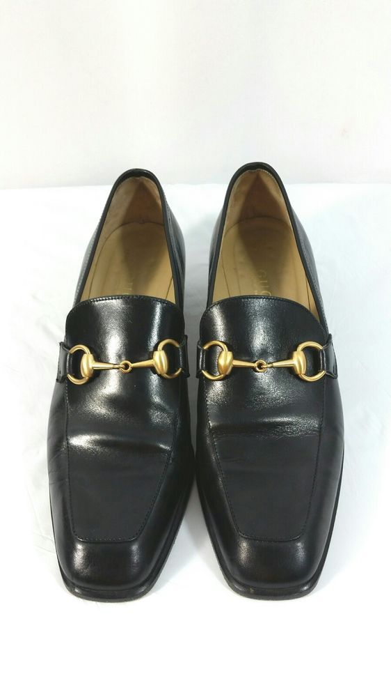 a9197febac4 Gucci Women s Gold Horsebit Black Leather Shoes Block Heel Size 8.5 B 100  0383  Gucci  Loafers  Casual