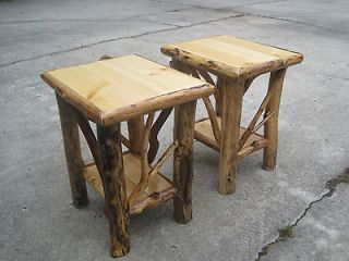 Rustic Wood End Tables   Amish Rustic Log End Side Table Red Cedar Solid Wood Furniture Cabin