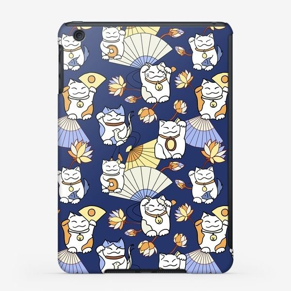 Чехол iPad «Манеки неко (Maneki neko) с веерами и лотосами, синий фон», купить в интернет-магазине в Москве, автор: Надежда Подкуркова , цена: 2300 рублей, 2228.41880.330437.858774