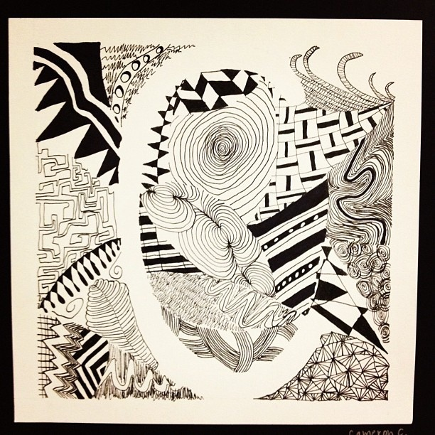 zentangle letter, 6th grade - @heggyart- #webstagram